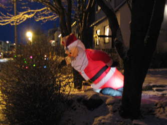 Santa drunk at night