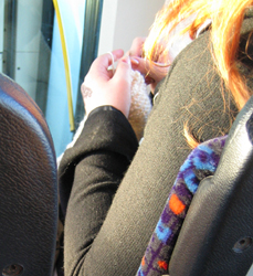 Knitting in the bus