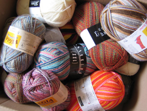 Box full of sock yarn