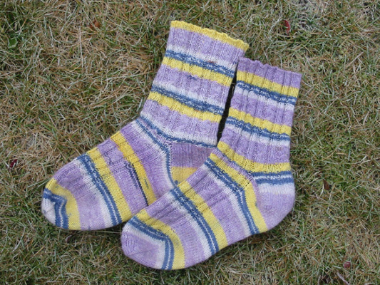 Rib and Cable Socks in Fish